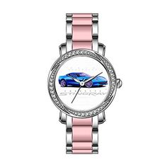 KSD Womens Luxury Unique Zirconia Bezel Stainless SteelPink Ceramic Quartz Wrist Watch 2014 Chevrolet Corvette Stingray Wristwatches >>> You can find out more details at the link of the image.