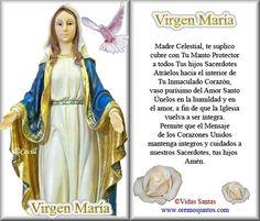 !Madre Celestial, te suplico, cubre con Tu Manto Protector a todos Tus hijos sacerdotes. Atráelos hacia el interior de Tu Inmaculado Corazón, vaso purísimo del Amor Santo......