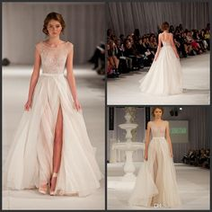 Wholesale Prom Dresses - Buy 2014 New Arrival Elie Saab Elegant Runway White Nude Tulle Scoop Tank Embroidery Long Strap Evening Formal /Prom Dress DH-69, $109.0 | DHgate