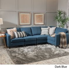 Contemporary Upholstered Dark Blue Fabric Sectional Sofa Adjustable  #GDFStudio #Contemporary