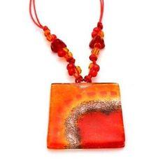 Lava Translucent Square Fused Glass Pendant Necklace Handmade and Fair Trade
