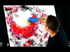 HOT RED 3D sphere Abstract Painting step by step demo by Peter Dranitsin - YouTube