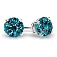 Diamond 10986: 2 Ct Round Blue Earrings Studs Solid 14K White Gold Brilliant Screw Back Basket -> BUY IT NOW ONLY: $152.8 on eBay!