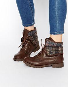 Enlarge New Look Ernie Fold Tartan Flat Boots