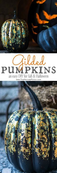 DIY Gilded Pumpkins | Carved or No-carve gilded Halloween pumpkins | Easy and budget friendly DIY Halloween and fall decoration | Free printable pumpkin carving designs | Gilded Dollar Store pumpkins | DIY crackled copper patina gild pumpkins | TheNavagePatch.com