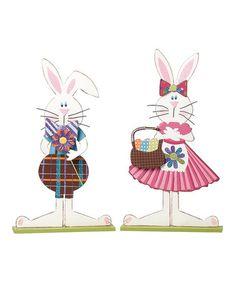 Love this Hippity Hoppity Bunny Couple Décor Set on #zulily! #zulilyfinds