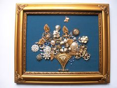 Framed Vintage Jewelry Art Floral - RHAPSODY IN BLUE by FancyLanyards on Etsy https://www.etsy.com/listing/177824384/framed-vintage-jewelry-art-floral