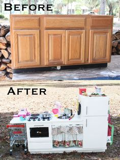 """Upcycled kitchen cabinets to play kitchen.   I added some handmade felt food for her to """"cook."""" My three year old little girl LOVES it!"""