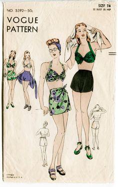 vintage Vogue sewing pattern bikini bra shorts beach swim bathing suit waist 26 bust 32 repro 5392 by LadyMarloweStudios on Etsy Retro Mode, Mode Vintage, Vintage Vogue, Vintage Fashion, 1940's Fashion, Fashion History, Fashion Details, Vintage Bathing Suits, Vintage Swimsuits