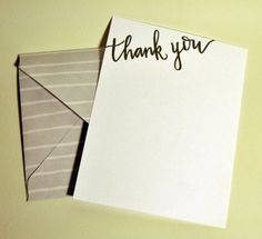 Thank You Card Corner Calligraphy by DaisyPrintCompany on Etsy Printing Companies, Thank You Cards, Daisy, Stationery, Corner, Calligraphy, Unique Jewelry, Handmade Gifts, Design