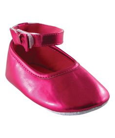 Look at this Luvable Friends Fuchsia Ankle Bow Shoe on #zulily today!
