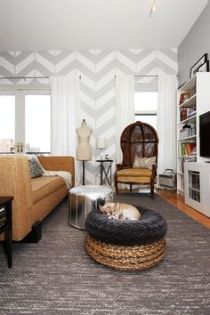 a dreamy living room adorned with chevron walls, white + grey, a sewing bust, and lovely furniture. Chevron Accent Walls, Gray Chevron, Paint Chevron, Striped Walls, Gray Paint, Accent Colors, Rental Decorating, Decorating Ideas, Interior Decorating