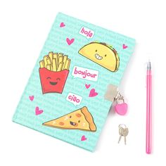 Junk Food Friends Lock Diary with Pen | Claire's