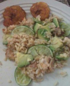 Tostones w/ chicken and rice mixed in lime and avacado
