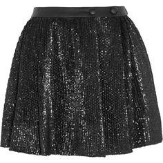 Maje Guapa sequined stretch-mesh mini skirt ($115) ❤ liked on Polyvore featuring skirts, mini skirts, black, maje, mini skirt, mesh mini skirt, short skirts and sequin mini skirt
