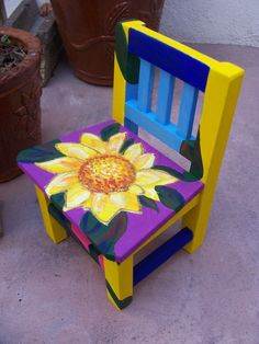 Hand Painted Miniature Mexican Chair