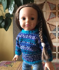 Madame Alexander doll wearing my steeked Fair Isle sweater pattern.