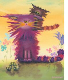 CRANKY CAT w INCHWORM KITTEN matted print by CrankyCats on Etsy