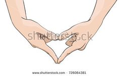 Vector hand showing heart shape gesture made of fingers, Illustration in colored sketch style isolated on white background