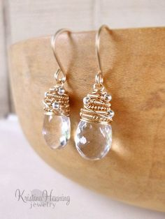 Clear quartz and gold wire wrapped earrings