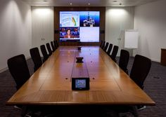 Multiscreen display #videowall ... mototised pop up electrical sockets ... atmospheric lighting ... #videoconference .... fully controlled by a touchscreen panel = #Boardrooms made easy!