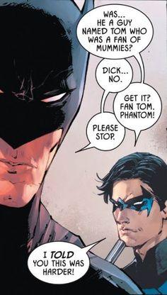 Drawing Dc Comics 11 28 2018 1 DC Batman aka Bruce Wayne Nightwing aka Dick Grayson The Jokester vs The Grimmster. Bruce Needs to Lighten Up! Nightwing, Batgirl, Richard Grayson, Bat Boys, Dc Memes, Batman Family, Dc Characters, Comics Universe, Batman Robin