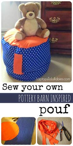 Sew your own Pottery Barn inspired floor pouf [My Handmade Home by Heather Laura Clarke] #DIY #craft #sewing