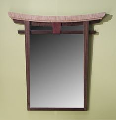 Torii Mirror - Curly Maple and Walnut by Bayley Wharton - (Wood Mirror) Japanese Furniture, Asian Furniture, Wood Furniture, Furniture Design, Japanese Tiny House, Japanese Gate, Diy Woodworking Joints, Woodworking Furniture Plans, Japanese Bathroom