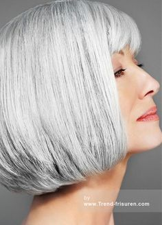 Bob Grey Hair Color for Older Ladies Older Women Hairstyles, Bob Hairstyles, Straight Hairstyles, Short Haircuts, Hairstyle Short, Hairstyle Ideas, Hair Turning White, Grey Hair Extensions, Natural Hair Styles