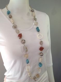 Extra long chunky gemstone necklace with natural agate, rutilated quartz, seeds, turquoise, white howlite and metal beads - Michela Rae