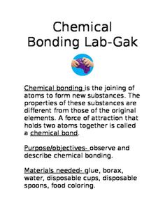 Slime/Gak lab shows chemical bonding taking place. Students follow the…