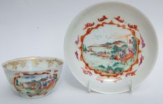 Early 18thc Antique CHINESE FAMILLE ROSE Eggshell, Meissen Style TEA BOWL/SAUCER  £84