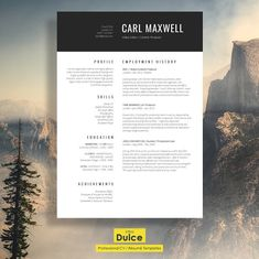 "Modern Resume Template | ""Mayfair"" by introDuice - CV Templates on @creativemarket"