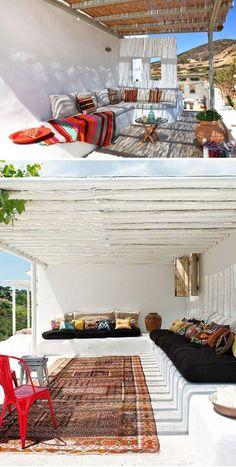 Los bancos exteriores de obra una opción muy chula para dar un toque deco a tu #jardín o #terraza