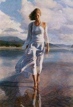 Steve Hanks is recognized as one of the best watercolor artists working today. The detail, color, and realism of Steve Hanks' paintings are unheard of in this difficult medium. A softly worn patterned quilt, the play of light on the thin veil of surf on sand, or the delicate... #stevehanks.