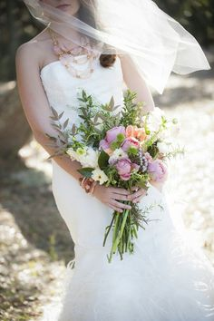 """{Gorgeous, Rustic/Shabby Chic Hand Tied Bridal Bouquet Which Features: White Camellias, White Sweet Pea, Violet """"Vintage"""" Garden Roses, Peach Parrot Tulips, Green Craspedia, Silver Brunia, Green Hypericum, Israeli Ruscus, + Several Additional Varieties Of Greenery/Foliage············}"""