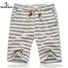 SHAN BAO brands men 2017 summer shorts fashion style and comfortable breathable linen stripe leisure men's beach shorts