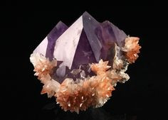 AMETHYST QUARTZ – ON RED CAPPED, HEMATITE (IRON OXIDE) STAINED RED CALCITES - JONGLUSHAN MINE, HUBEI PROVINCE, CHINA