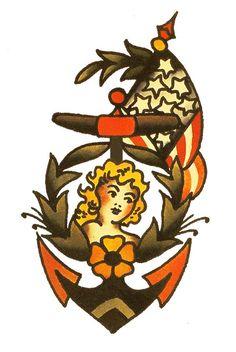Girl & Anchor, Sailor Jerry,Tattoo Flash | Vulture Graffix, Mail Order T…