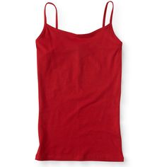 Aeropostale Solid Basic Cami ($4) ❤ liked on Polyvore featuring intimates, camis, firecracker red, slimming camisole, red camisole, sheer cami, red cami and aeropostale cami
