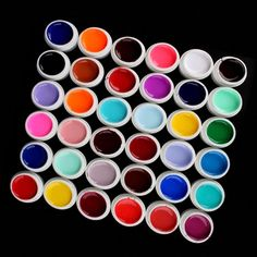 36pcs Random Nail Art Tips Manicure Mix Colors Pots Pure Builder for Polish UV Gel *** Want to know more, click on the image.