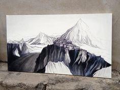Himaláje - kresba na plátno