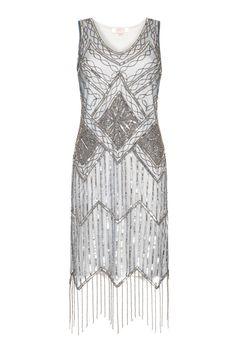 US20 UK24 AUS24 EU52 Isobel grijs blauw Plus grootte Fringe jurk Vintage…