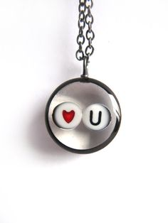 Love You Valentine Resin Pendant  beads encased in by ScrappinCop, $12.50