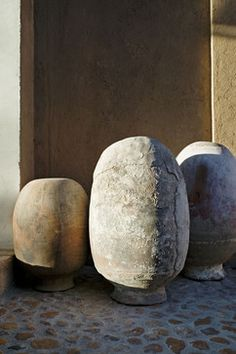 Pots, by local artists, at entry to hacienda just outside San Miguel de Allende in central Mexico: a collaboration between David Howell Design and the owner, furniture designer John Houshmand.