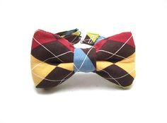 Bow tie Argyle Brown Maroon Blue Green Yellow  for by redfox91276, $8.99