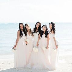 Sharing a glam beach wedding in Jamaica. See how his gorgeous white destination wedding came together with the top vendors. Amsale Bridesmaid, Wedding Bridesmaids, Bridesmaid Dresses, Pink Wedding Colors, Pretty Wedding Dresses, Cinderella Wedding, Backless Wedding, Sister Wedding, Bridal Boutique