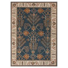 Blue & Rust Floral Pattern Bordered Rug