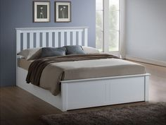 A high quality wooden Ottoman bed frame that features ample storage. Finished in a contemporary white, and has a sprung slatted base. Small Double Double and King Size Manufactured by Birlea. Ottoman Decor, Ottoman Storage Bed, Ottoman Bed, Bed Storage, Storage Drawers, Double Bed With Storage, Bed Frame With Storage, Double Beds, White Bedroom