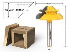 Yonico 15129q Small Lock Miter 45Degree Router Bit, 1/2'